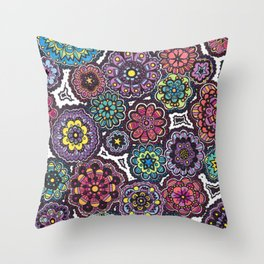 Psychedelic Flowers Throw Pillow