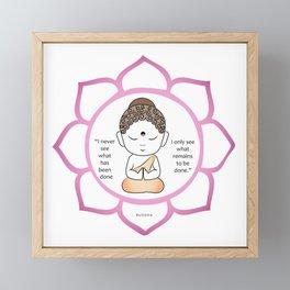 Cute little Buddha in a lotus flower Framed Mini Art Print
