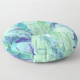 Banana Tree Leaves   Tropical  BLUE Watercolor Floor Pillow