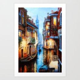 Venice Canal Digital Oil Painting Art Print