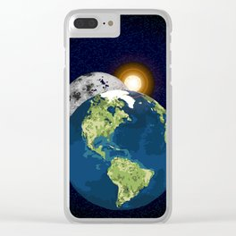 Earth Moon and Sun Clear iPhone Case