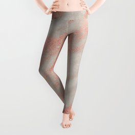 Smooth rose gold on gray marble Leggings