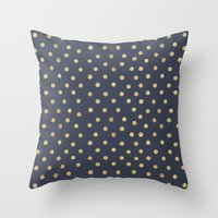 gold dots Throw Pillows featuring Gold Dots on Blue by Tamsin Lucie