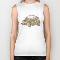 turtle Biker Tanks featuring Turtle by Yuliya