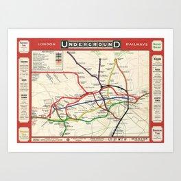 Vintage London Underground Railways Art Print