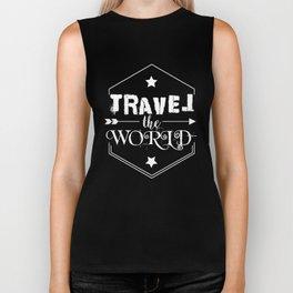 Travel the world (white version) Biker Tank