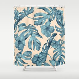 Island Vacay Hibiscus Palm Pale Coral Teal Blue Shower Curtain