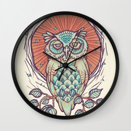 Owl on branch Wall Clock