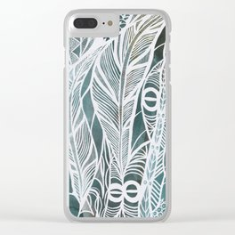 Feathery Design in Emerald Green Clear iPhone Case