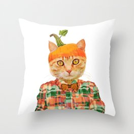 Orange Pumpkin Cat // Fall Decor Throw Pillow