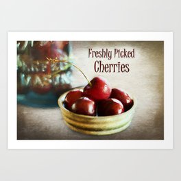 Freshly Picked Cherries Art Print
