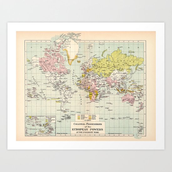 Colonial Possessions of the European Powers at the present time Art Print
