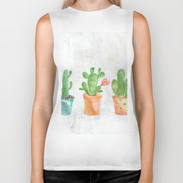 Three Green Cacti Watercolor White Biker Tank
