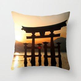 Itsukushima Shrine on Miyajima, Japan Throw Pillow