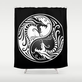White and Black Yin Yang Dragons Shower Curtain