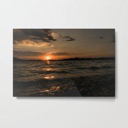 Sunset above the lake Metal Print