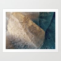 lace Art Prints featuring lace by messy bed studio