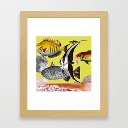 Fish World yellow Framed Art Print