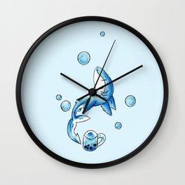 Blue Bubble Shark Wall Clock