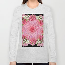 ORNATE PINK FLOWER COLLAGE WITH BLACK Long Sleeve T-shirt