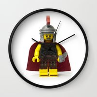 gladiator Wall Clocks featuring Roman gladiator Minifig by Jarod Pulo