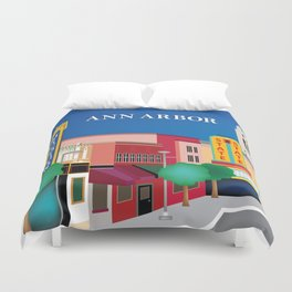 Ann Arbor, Michigan - Skyline Illustration by Loose Petals Duvet Cover