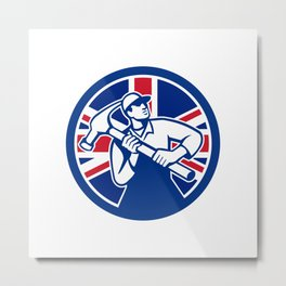 British Joiner Union Jack Flag Icon Metal Print