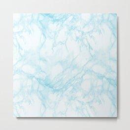Elegant pastel blue white modern marble Metal Print