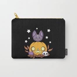 Pumpkin Cats Son // Black Carry-All Pouch