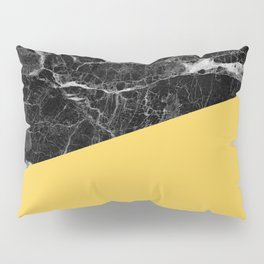 Black Marble and Primrose Yellow Color Pillow Sham