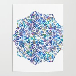 Mandala Little Mermaid Ocean Blue Poster