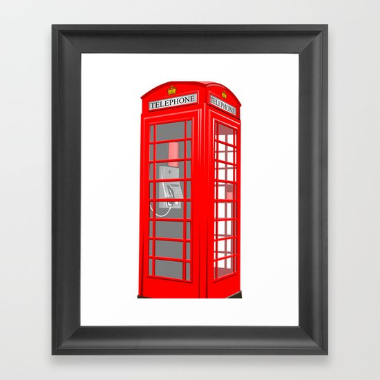 RED PHONE BOOTH Framed Art Print