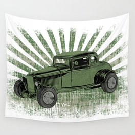 1932 Ford Coupe Hot Rod with Sunburst Wall Tapestry
