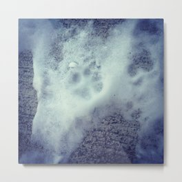 Paw Prints in the Snow Metal Print