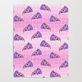 Crazy pizza / Pink Grid Poster