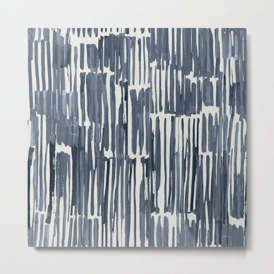 Simply Bamboo Brushstroke Indigo Blue on Lunar Gray Metal Print