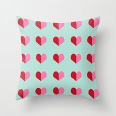 Heart love valentines day hearts pattern mint red valentine pattern Throw Pillow