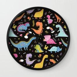 Dinosaurs Black Background Wall Clock