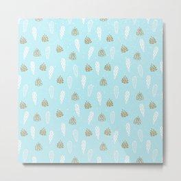 Merry Christmas-Festive teal pine cone X-Mas Pattern Metal Print
