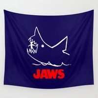 jaws Wall Tapestries featuring Jaws by IIIIHiveIIII