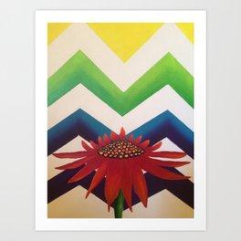 Daisy Chevron Art Print