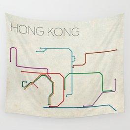 Minimal Hong Kong Subway Map Wall Tapestry