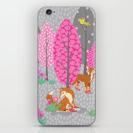Foxes in Galoshes - Pink and Gray iPhone Skin