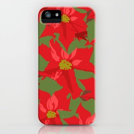 Poinsettia Love (Red) iPhone Case