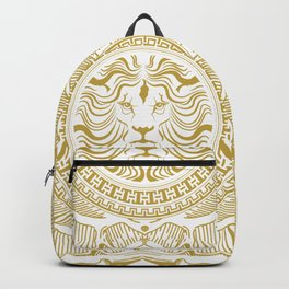 Medallion Lion Vintage Renaisance White Gold Backpack