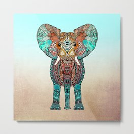BOHO SUMMER ELEPHANT Metal Print