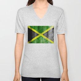 Jamaica Flag Grungy Distressed Board Unisex V-Neck