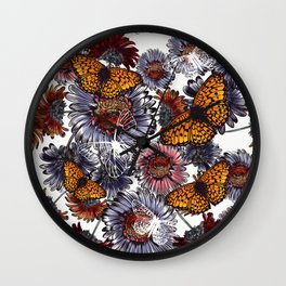 Summer design with daisy flowers and butterflies Wall Clock
