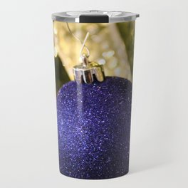 Blue Glitter Christmas Ornament Travel Mug