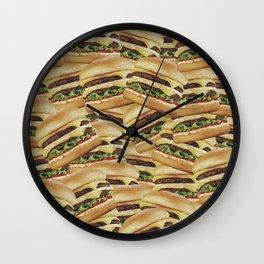 Vintage Cheeseburger Pile Print Wall Clock